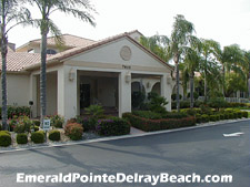 front view of the Emerald Pointe clubhouse - the hub of activity for the whole community.