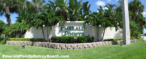 The well-kept grounds at the entrance to Emerald Pointe are an indication of the way the rest of the community is maintained - impeccably.